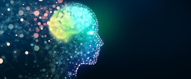 Ludzka głowa ze świetlistą siecią mózgową cyfrowy mózg analiza informacji cyber-umysł koncepcja