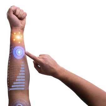 Ludzka ręka robota w futurystycznej koncepcji