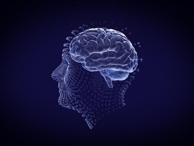 Ludzka twarz i mózg w stylu hologramowym i szkieletowym. renderowania 3d