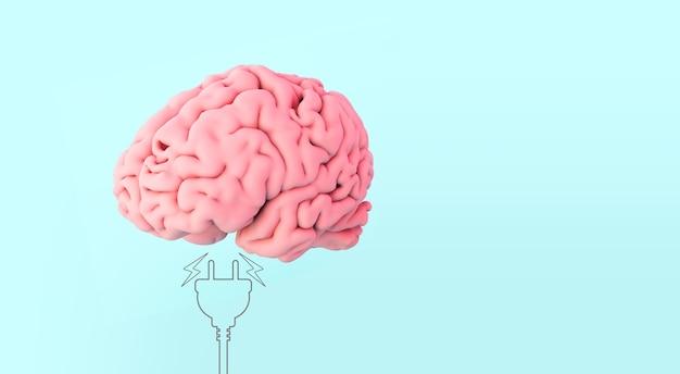 Ludzki mózg na niebieskim tle renderowania 3d z ilustracją wtyczki