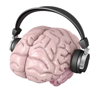 Ludzki mózg ze słuchawkami