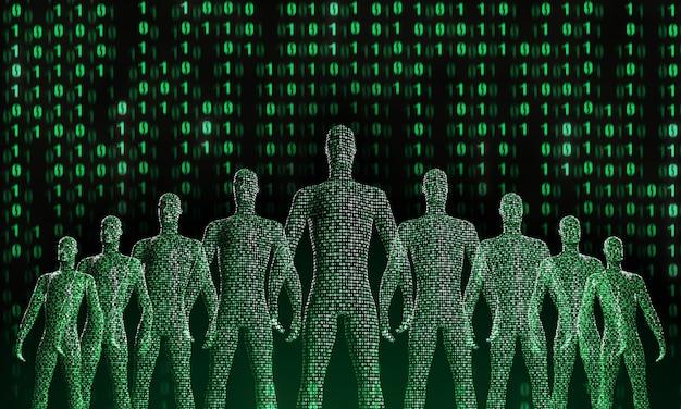 Ludzkie ciała zbudowane z jedynek i zer. pojęcie symbiozy człowieka i technologii. renderowanie 3d