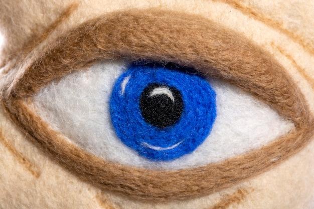 Ludzkie oko z bliska filcowanej wełny
