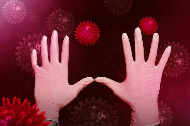 Ludzkie ręce w białych lateksowych rękawiczkach medycznych, aby zatrzymać rozprzestrzenianie się koronawirusa