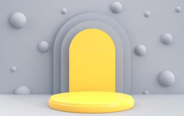 Łuk z podium w pastelowych kolorach, okrągła żółta platforma, minimalny portal, renderowanie 3d, scena z formami geometrycznymi, abstrakcyjne tło z kulkami