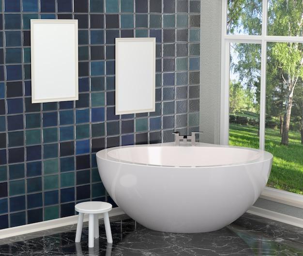 Luksusowa biała nowoczesna łazienka z pustymi ramkami