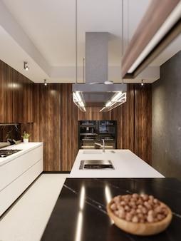 Luksusowa designerska kuchnia z barem, wyspą kuchenną i drewnianymi meblami z wbudowanym sprzętem agd. współczesna kuchnia. renderowania 3d.