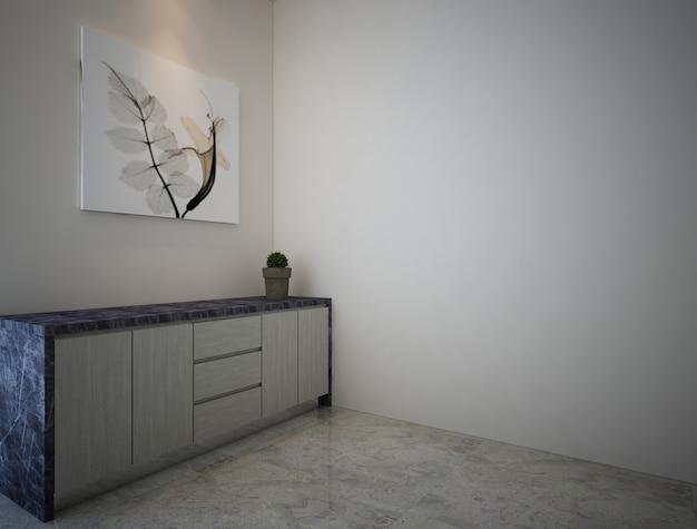 Luksusowa i elegancka koncepcja aranżacji wnętrz z marmurowej szafy