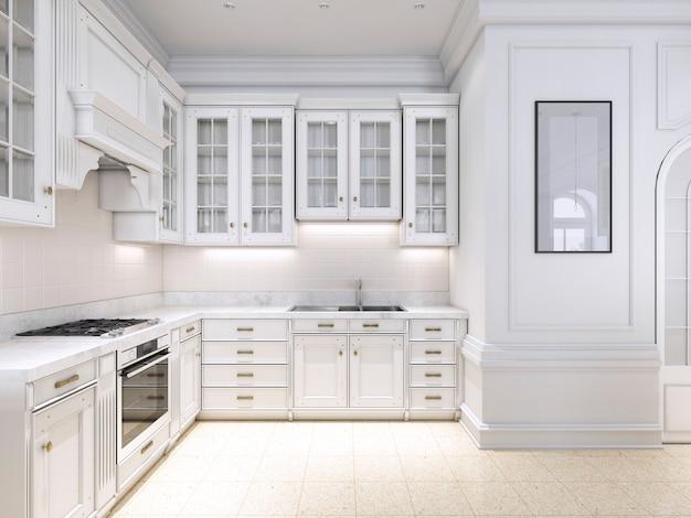 Luksusowa kuchnia w klasycznym skandynawskim stylu, biały drewniany panel z marmurowym blatem. renderowanie 3d