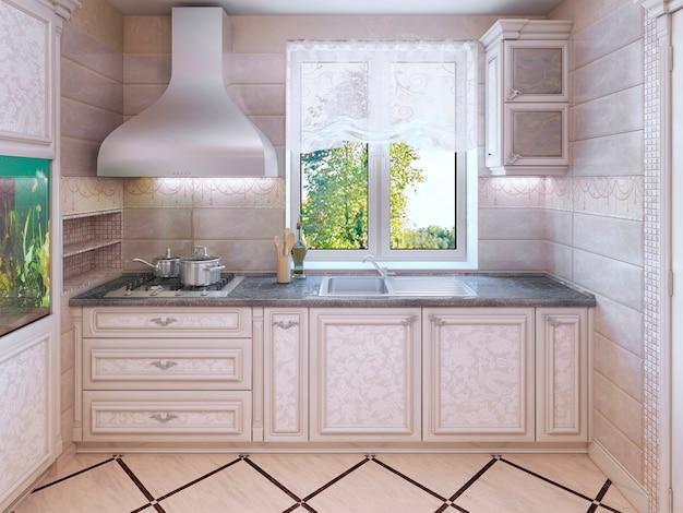 Luksusowa kuchnia w prywatnym domu w nowoczesnym stylu