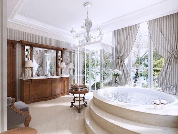 Luksusowa łazienka w klasycznym stylu. łazienka z jacuzzi, prysznicem i meblami łazienkowymi. renderowania 3d.