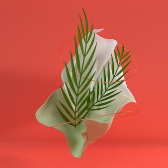 Luksusowa miękka tkanina w ruchu ze złotymi metalowymi pierścieniami i papierowymi tropikalnymi liśćmi palmowymi