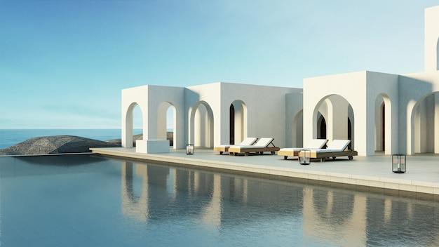 Luksusowa plaża i willa z basenem w stylu santorini?