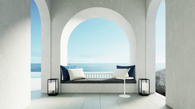 Luksusowa plaża i willa z basenem w stylu wyspy santorini?
