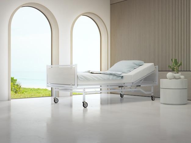 Luksusowa sala szpitalna z widokiem na plażę i morze w koncepcji turystyki medycznej