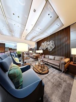 Luksusowa strefa wejściowa w hotelu ze skórzaną sofą i fotelem z tkaniny. designerskie białe szafki z donicą i drewnianymi ozdobnymi deskami na ścianach z dekoracją. renderowanie 3d
