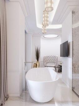 Luksusowa współczesna łazienka z wolnostojącą wanną i telewizorem na ścianie, prysznicem, toaletką z lustrem i kinkietem. renderowania 3d.