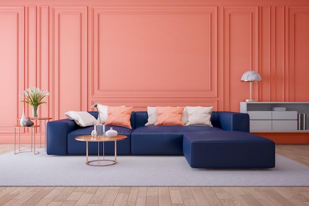 Luksusowe nowoczesne wnętrze salonu, koncepcja żywego koralowca, niebieska granatowa sofa i złoty stół ze złotą lampą na lekkiej ścianie ping i podłodze, renderowania 3d
