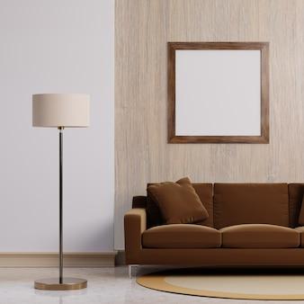 Luksusowe nowoczesne wnętrze z ciemnobrązowym odcieniem tła koncepcji salonu domu