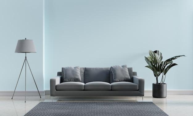 Luksusowe nowoczesne wnętrze z niebieskim pastelowym i szarym odcieniem salonu w tle koncepcji wystroju domu