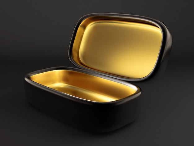 Luksusowe opakowanie na prezent świąteczny. pudełko jest złote wewnątrz i ciemne na zewnątrz. ilustracja, renderowanie 3d.