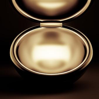 Luksusowe opakowanie na prezent świąteczny. pudełko jest złote wewnątrz i ciemne na zewnątrz.