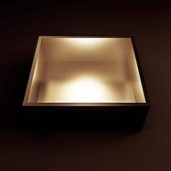 Luksusowe opakowanie na prezent świąteczny. pudełko jest złote wewnątrz i ciemne na zewnątrz