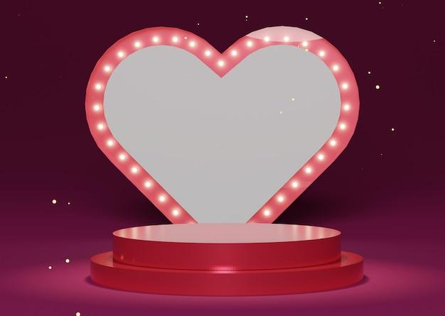 Luksusowe podium z dekoracją z lampą bokeh w kształcie serca. szczęśliwych walentynek. koncepcja obchodów miłości.