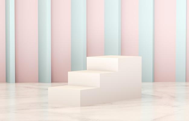 Luksusowe puste białe podium na marmurowej podłodze do prezentacji produktów