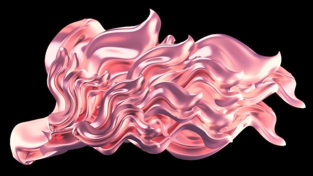 Luksusowe różowe tło z perłową drapowaną tkaniną. wizualizacja 3d.