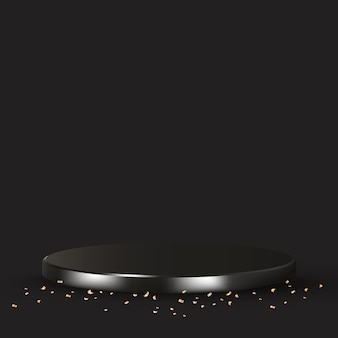 Luksusowe tło produktu 3d w kolorze czarnym ze złotym konfetti