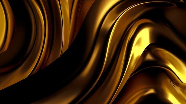 Luksusowe tło z złotą tkaniną draperii. ilustracja, renderowanie 3d.