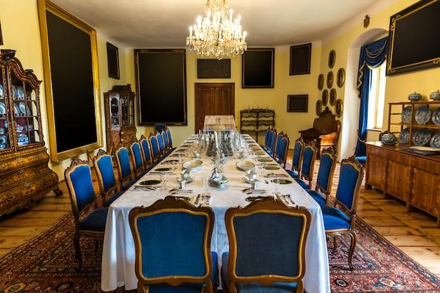 Luksusowe wnętrze jadalni, muzeum europy