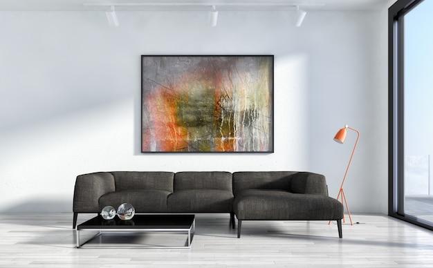 Luksusowe wnętrze salonu z wystrojem i malarstwem abstrakcyjnym
