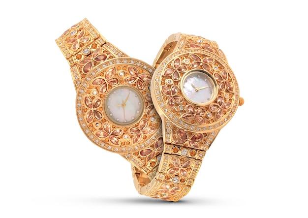 Luksusowe zegarki na białym tle