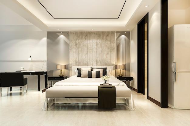 Luksusowy apartament w hotelu ze stołem roboczym w pobliżu łazienki