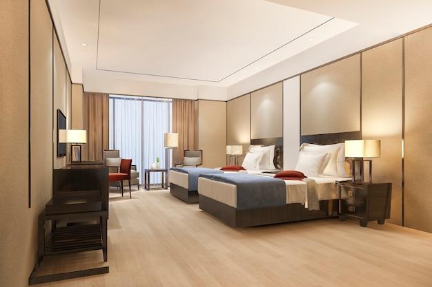 Luksusowy apartament w kurorcie w wysokim hotelu z podwójnym łóżkiem