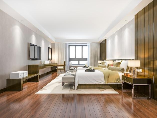 Luksusowy apartament z tropikalną sypialnią w hotelu i ośrodku wypoczynkowym z podwójnym łóżkiem