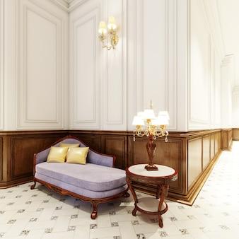 Luksusowy bankiet z drewnianym rzeźbionym stołem i dużą klasyczną lampą stołową. renderowania 3d.