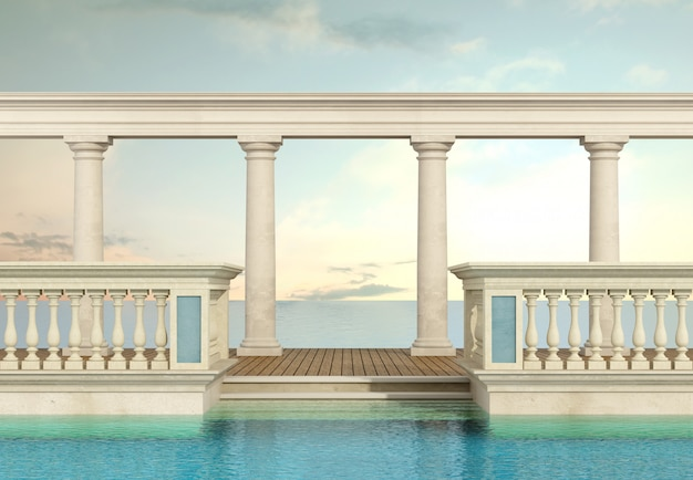 Luksusowy basen z balustradą i kolumnadą