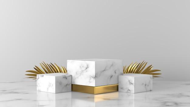 Luksusowy biały marmur prezentuje podium i złote liście palmowe na białym tle