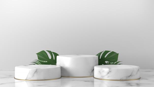 Luksusowy biały marmurowy cylinder podium zielone liście w białym tle.