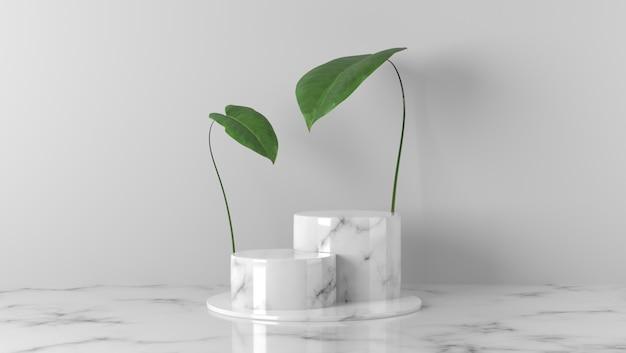 Luksusowy biały marmurowy cylinder prezentuje podium i liście w białym tle