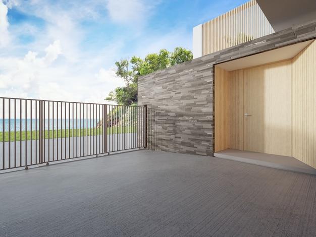 Luksusowy dom na plaży z widokiem na morze i drewnianymi drzwiami w nowoczesnym stylu