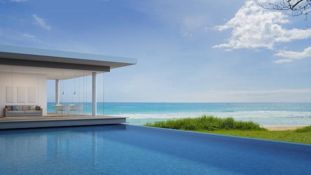 Luksusowy dom na plaży z widokiem na morze w nowoczesnym stylu.