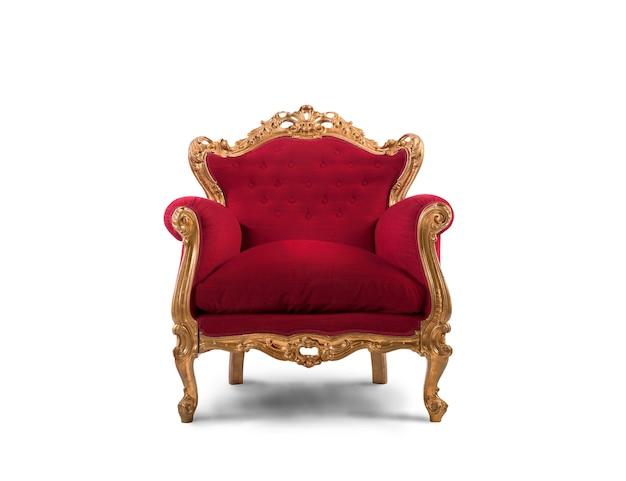 Luksusowy fotel w czerwono-złotym kolorze