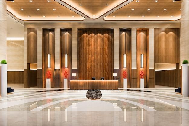 Luksusowy hol z recepcją i restauracją z wysokim sufitem
