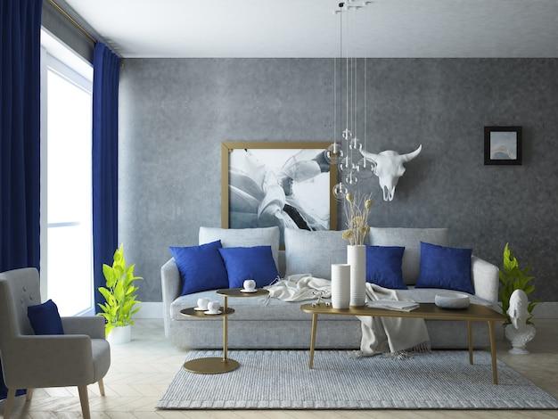 Luksusowy i elegancki salon ze złotą dekoracją