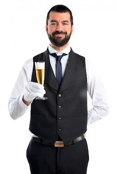 Luksusowy kelner z szampanem