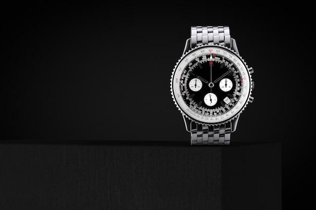Luksusowy klasyczny analogowy męski srebrny zegarek na nadgarstku nad kostką na czarnym tle. renderowanie 3d